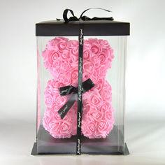 Акция на Мишка из роз в подарочной упаковке 23 см розовый из фоамирана от Allo UA