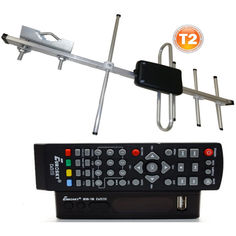 Акция на Комплект Т2-телевидения: тюнер DVB-T2 с функциями медиаплеера и IPTV/WebTV-плеера Eurosky ES-15+ антенна для Т2 внешняя Волна 1-04 (прием сигнала до 25 км от ретранслятора) от Allo UA