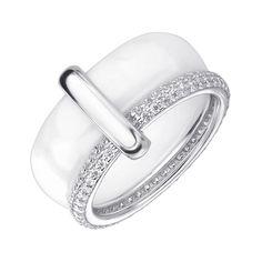 Акция на Серебряное кольцо с керамикой и цирконием 000145381 16.5 размера от Zlato