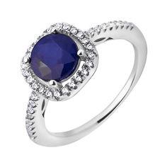 Акция на Серебряное кольцо с сапфиром и фианитами 000117795 18 размера от Zlato
