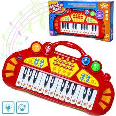 Акция на Детское пианино со встроенными мелодиями и звуками животных ENJOY Musical Star + световые эффекты Красный от Allo UA
