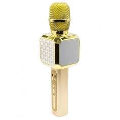 Акция на Беспроводной микрофон караоке Magic Karaoke YS-05-G Pro Bluetooth до 10м колонка с модулятором голоса функция создания фонограммы, эффект эхо динамики 2 х 3Вт с прочным металлическим корпусом (Gold) от Allo UA