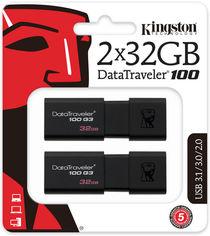 Акция на Kingston DataTraveler 100 G3 2x32GB USB 3.0 (DT100G3/32GB-2P) от Rozetka