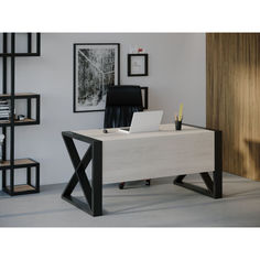 Акция на Компьютерный стол Skandi Wood SW109 Миннесота 140 х 80 х 75 см МДФ+Шпон Дуб Белый (SW10914875WhOMDF) от Allo UA
