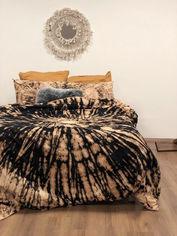 Акция на Комплект постельного белья handmade окрашивания темная горчица SoundSleep Двуспальный евро комплект от Podushka