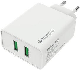 Акция на Сетевое зарядное устройство ColorWay 2 USB Quick Charge 3.0 (36W) White (CW-CHS017Q-WT) от Rozetka