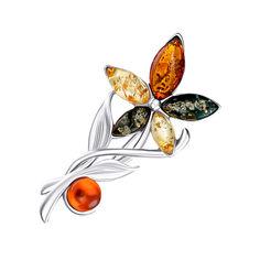 Акция на Серебряная брошь с янтарем 000145964 от Zlato