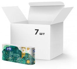 Акция на Упаковка туалетной бумаги Grite Blossom Camomile 150 отрывов 3 слоя 7 шт по 8 рулонов (4770023348569) от Rozetka