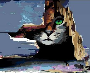 Акция на Набор для творчества Rosa Start акриловая живопись по номерам Кот в засаде 35 х 45 см (4823098516330) от Rozetka