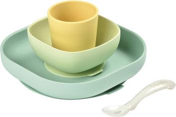 Акция на Набор: тарелка, миска, стакан и ложка Beaba Неон/Желтый (913436) от Rozetka