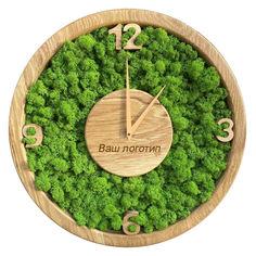 Акция на Настенные часы из мха SO Green Соу Грин деревянные с лого и цифрами 30 см (00734/30) от Allo UA