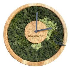 Акция на Настенные часы из мха SO Green Соу Грин деревянные с лого 40 см (00743) от Allo UA