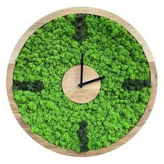 Акция на Настенные часы из мха SO Green Соу Грин деревянные с отметками 40 см (00741) от Allo UA