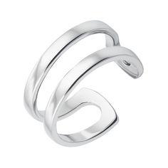 Акция на Серебряное двойное кольцо с разомкнутой шинкой 000133712 15.5 размера от Zlato