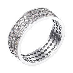 Акция на Обручальное кольцо из белого золота с фианитами 000000317 19.5 размера от Zlato