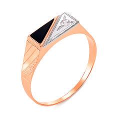 Акция на Золотой перстень-печатка в комбинированном цвете с черным ониксом и цирконием 000104116 18 размера от Zlato