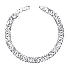 Акция на Cеребряный браслет в плетении ромб 000122252 18 размера от Zlato