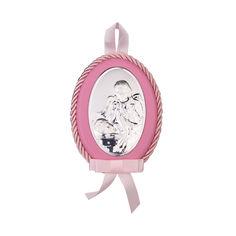Акция на Посеребренная икона Ангел Хранитель с розовой синтетической кожей и текстилем 000131789 б/р размера от Zlato