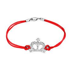 Акция на Браслет из красной шелковой нитки и серебра с цирконием 000140036 20 размера от Zlato