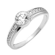 Акция на Серебряное кольцо с цирконием Swarovski 000129285 18.5 размера от Zlato