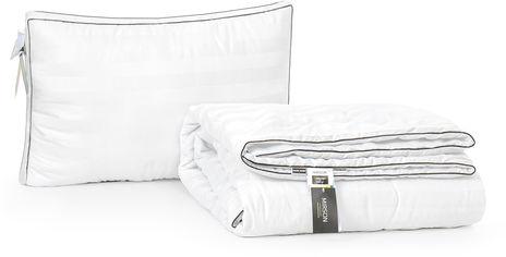 Акция на Набор антиаллергенный MirSon 3M Thinsulatе Лето Royal Pearl Hand Made №3084 одеяло 140х205 + подушка 50x70 трехкамерная упругая (2200002261883) от Rozetka