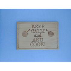 Акция на Доска сувенирная HOT-KITCHEN KEEP CALM ;and AND COOK Деревянная с выжиганием 30*20 см (дк20) от Allo UA