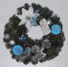 Акция на Рождественский венок Классик 35 см Лоза и Керамика 11-40415 синий с белым от Podushka