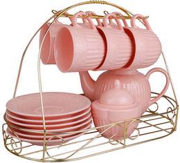 Акция на Чайный набор Lefard 722 Ажур 14 предметов на металлической подставке 250 мл Розовый (722-126) от Rozetka