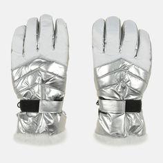 Акция на Зимние перчатки YO! RN-113/5P/W 20 Серебро с опушкой (5901560830722) от Rozetka
