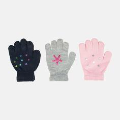 Акция на Зимние перчатки YO! R-068A/GIR 16 (3 пары) Розовая звездочка/Серая снежинка/Синее сердечко (5907617997363) от Rozetka