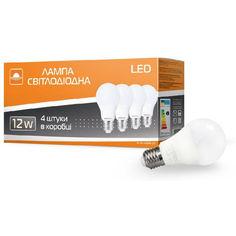 Акция на Лампа светодиодная ЕВРОСВЕТ 4 шт 12Вт 4200К A-12-4200-27 Е27 (56702) от Allo UA