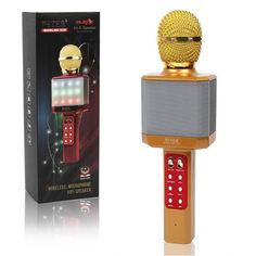 Акция на Караоке микрофон беспроводной WSTER WS-1828 Bluetooth c LED подсветкой Мощный и стильный от Allo UA