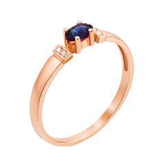 Акция на Золотое кольцо Марлен в красном цвете с бриллиантами и сапфиром 17 размера от Zlato