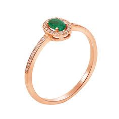 Акция на Золотое кольцо Соната с изумрудом и бриллиантами 18 размера от Zlato