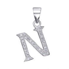 Акция на Серебряная подвеска буква N с фианитами 000126190 от Zlato