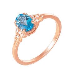 Акция на Кольцо из красного золота с голубым топазом и фианитами 000133416 16.5 размера от Zlato