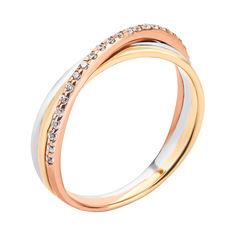 Акция на Золотое кольцо в комбинированном цвете с цирконием 000134652 17.5 размера от Zlato