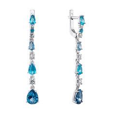 Акция на Серебряные серьги-подвески с кварцем под голубые и лондон топазы и фианитами 000135763 от Zlato