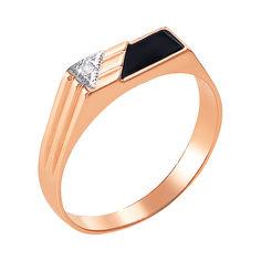 Акция на Золотой перстень-печатка в комбинированном цвете с цирконием и ониксом 000106444 18.5 размера от Zlato