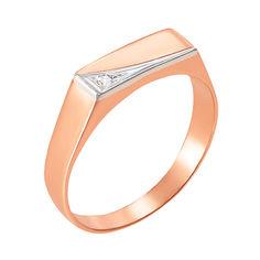 Акция на Золотой перстень-печатка в комбинированном цвете с цирконием 000106440 19.5 размера от Zlato