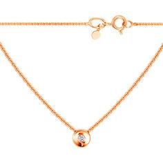 Акция на Колье из красного золота с бриллиантом 000124928 45 размера от Zlato
