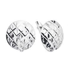 Акция на Серебряные серьги с орнаментом и алмазной гранью 000127084 от Zlato