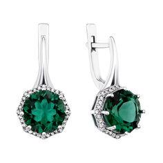 Акция на Серебряные серьги с зеленым кварцем и фианитами 000135060 от Zlato