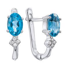 Акция на Серебряные серьги с голубыми топазами и фианитами 000134855 от Zlato