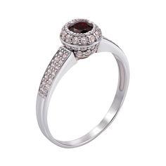 Акция на Серебряное кольцо с гранатом и фианитами 000136416 18.5 размера от Zlato