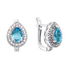 Акция на Серебряные серьги с голубыми топазами и фианитами 000137819 от Zlato