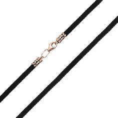 Акция на Черный синтетический шнурок с замком из красного золота, 3мм 000141619 50 размера от Zlato