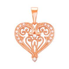 Акция на Кулон-сердце из красного золота с фианитами 000103928 от Zlato