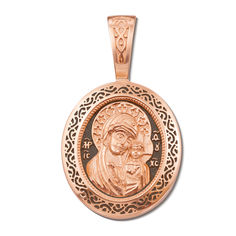 Акция на Ладанка из красного золота Казанская Божья Матерь с чернением 000122980 от Zlato
