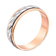 Акция на Золотое обручальное кольцо в комбинированном цвете с алмазной гранью 000119527 18.5 размера от Zlato
